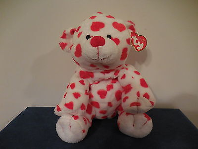 TY Pluffies DREAMSY the BEAR VALENTINE'S DAY Plush Red Hearts Baby Lovey New NWT