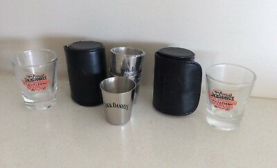 Jack Daniels Stainless Steel Shots In Leather Pouch & Jack Daniels 2007 Bbq Shot