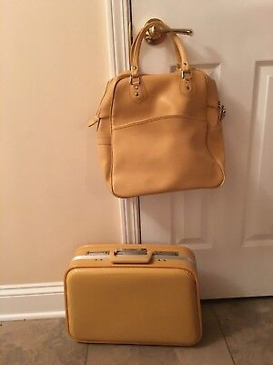 Vintage Yellow Carry On Bag & Hardcase Weekend Overnight Suitcase