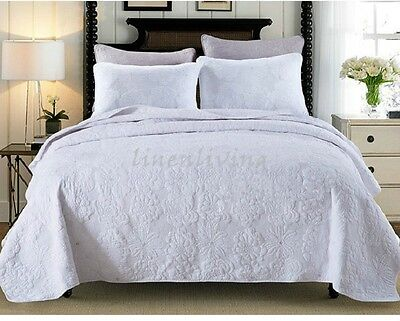 Reversible Quilted Cotton Patchwork Coverlet Bedspread 3pc Set Queen/King Size