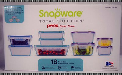 18 Pc Snapware Total Solution Pyrex Glass Food Storage Containers Set Kitchen