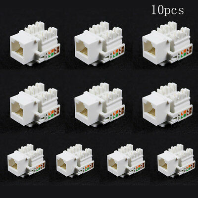 10x RJ45 Keystone Jack Wall End Plug Cat5E Ethernet LAN Network For 568A & 568B