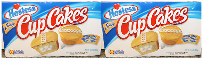2 x 383g BOXES OF HOSTESS FAMOUS ORANGE CREAM FILLED FRUITY CUPCAKES! USA
