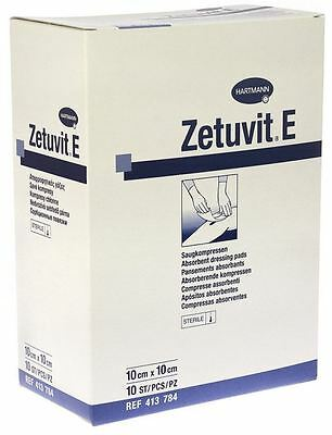 Hartmann Zetuvit E Sterile Absorbent Dressing Pads, 10cm x 10cm, Pack of 25