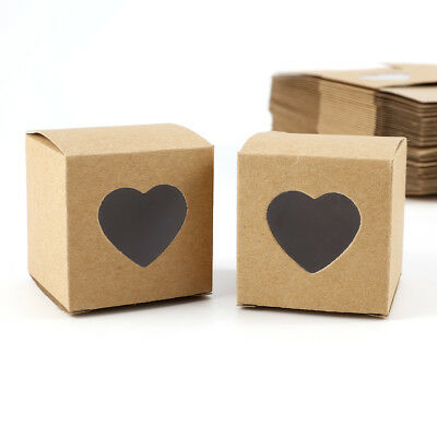 50x Heart Love Rustic Sweet Laser Cut Kraft Candy Gift Box Wedding Party Favour