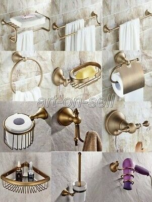 Antique Solid Brass Bathroom Accessories Set Wall Mounted Retro Accessory AA008