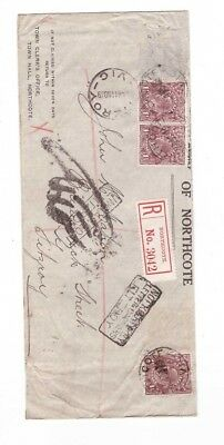 """Australia 1919 GeoV on Registered Cover,"""" NOT KNOWN by LETTER CARRIERS FITZROY"""""""