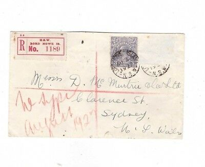 Lord Howe Island 1927 Registered Commercial Cover to Sydney   SCARCE