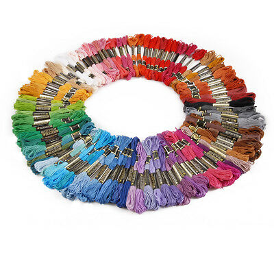 100 Colourful Cross Stitch Embroidery Egyptian Cotton Thread Floss Bulk DIY