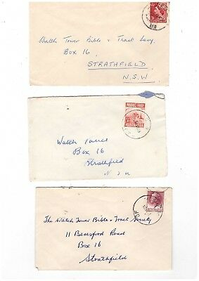"""Australia 1953/58 Group of """"Alphabet Relief"""" Cancel Covers        ( 3 Covers )"""