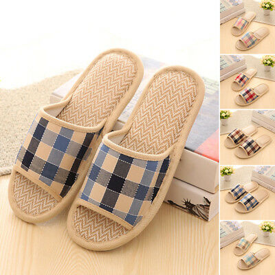 Women Anti-slip Soft Linen Plaid Slippers Home Indoor Open Toe Flats House Shoes