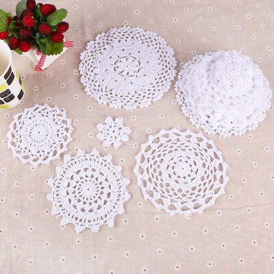 Pure White Vintage Lace Linen Round Hand Crochet Doilies Home Table Decor 24pcs