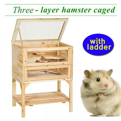 3 Tiers Wooden Hamster Cage House Castle Pet Mouse Small Animals Rats Exercise