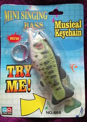 VINTAGE SINGING BIG MOUTH BILLY BASS FISH keyring