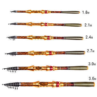 TELESCOPIC FISHING ROD 5.9-11.8ft Portable Carbon Fiber Spinning Fishing Pole