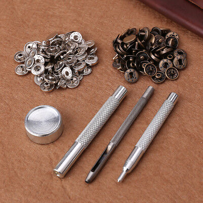 Snap Fastener 30 Poppers 10mm Press Stud Kit W/ Fixing Tool Sewing Leather Craft