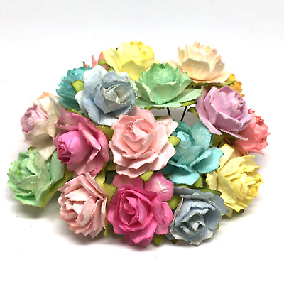 LIGHT PASTEL MIX TATTERED Mulberry Paper Roses TR024