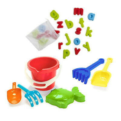 ELC Alphabet Sand Moulds 26 Piece With Mini Spade & Rake Set And Baby Bucket Set