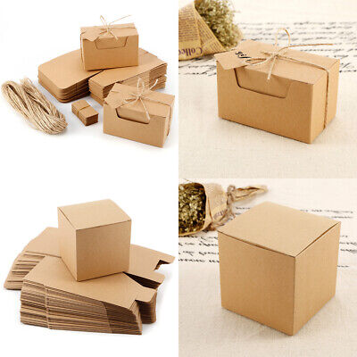 50pcs Vintage Kraft Paper Brown Candy Box Gift Wedding Party Favour Supplies