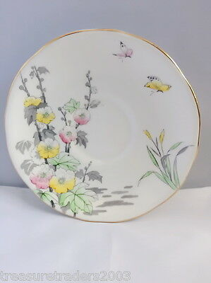 🌟 Royal Staffordshire Saucer Pink & Yellow Butterflys Flowers Grey Leaves
