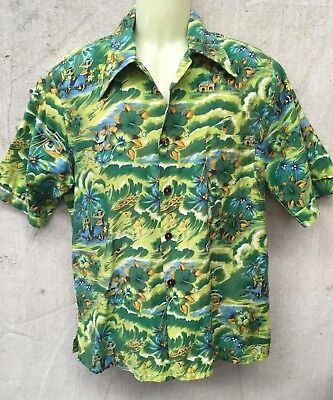 Genuine Vintage 1980's GREEN HAWAIIAN SHORT SLEEVE SHIRT PALM TREES