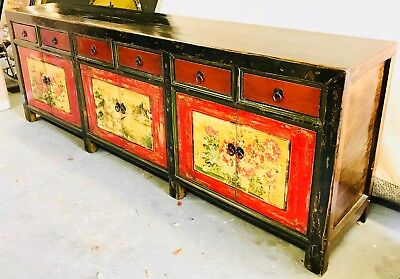 Antique Mongolian Painted 6 Draw/Cupboard, Sideboard