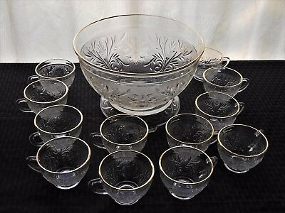 Anchor Hocking Glass Clear Sandwich Gold Trim Punch Bowl 12 Cups Base 14 pc Set