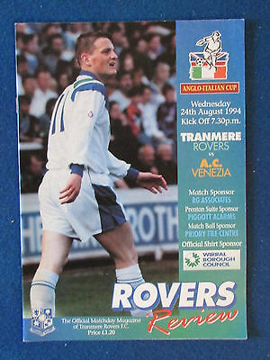 Tranmere Rovers v AC Venezia - 24/8/94 - Anglo Italian Cup Programme