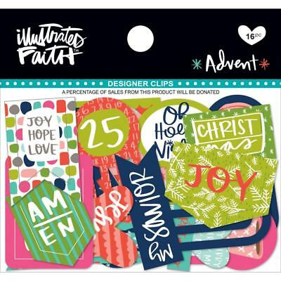 Illustrated Faith Bright Advent Designer Planner Bible Journal Clips 16 Pack