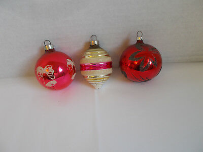 3 Vintage Mercury Glass Christmas Ornaments USA Bee Hive & Balls Glitter
