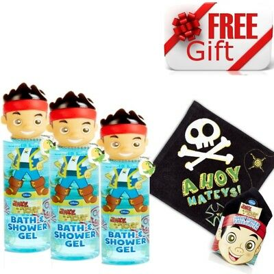 3 x Disney Jake And The Neverland Pirates Bath & Shower Gel 250ml With FREE Gift