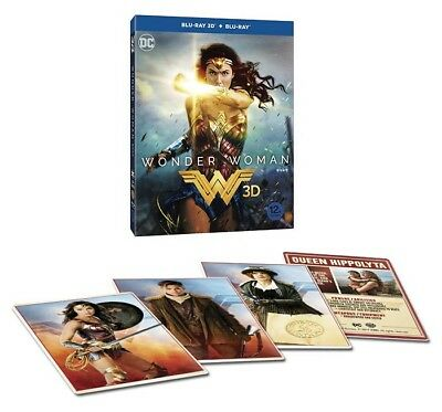Wonder Woman (2017, Blu-ray) 2D + 3D Combo Slip Case Edition w/ Character Cards