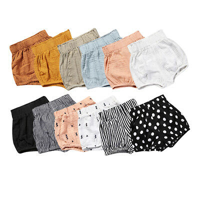 Kids Baby Girls Boys Soft Cotton Shorts Pants Casual Diaper Bloomers Bottoms New