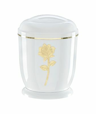 White Metal Cremation Ashes Urn / Casket for Adults (M-805Ar-W)
