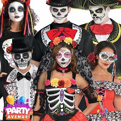 Adult Day Of The Dead Halloween Fancy Dress Costume Mens Womens Mexican Skeleton