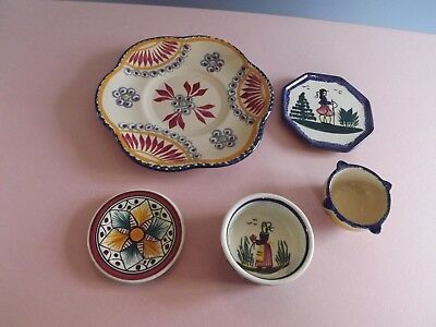 Collection of Vintage Quimper Pottery - Plates & Pots (72)