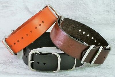 Leather ZULU NATO watch strap with free tool and pins