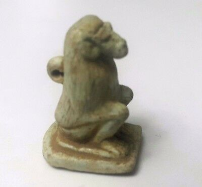 Rare Ancient Egyptian  Faience Baboon Amulet 300-600 Bc
