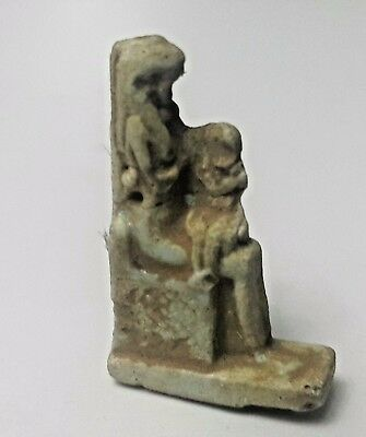 Rare Ancient Egyptian  Faience Amulet Of Isis Nursing Horus 300-600 Bc