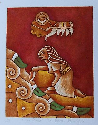 Gathering Water Etching Hand tinted Natural pigments Reyes Gomez Oaxaca Mexican