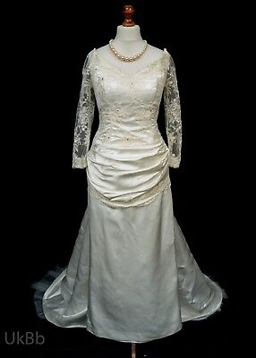 Vintage Wedding Dress 1990s Lace Ruched Satin Ivory Train 14 - 16 Halloween R689
