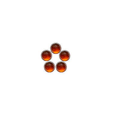 6x6mm 5pc Fine Quality Rose Cut Faceted Cabs Natural Hessonite Garnet