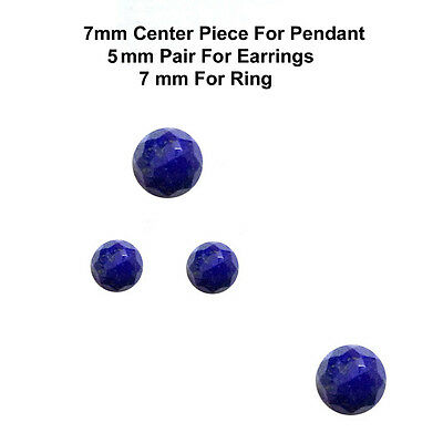 4 pc set 7/5 mm AAA Quality Rose Cut Faceted Cabochon Lapis Lazuli Loose Gems
