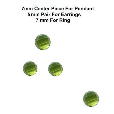4 pc set 7/5 mm AAA Quality Rose Cut Faceted Cabochon Natural Peridot Loose Gems