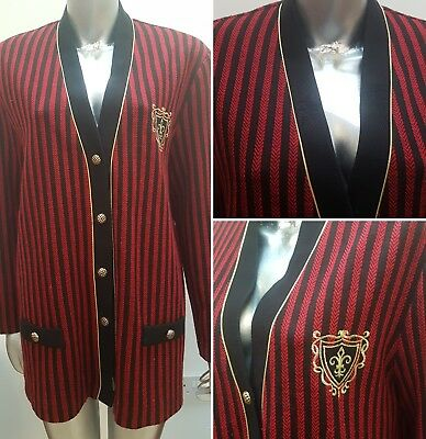 Vintage Oversized Striped Blazer Embroidered Blogger 16 18