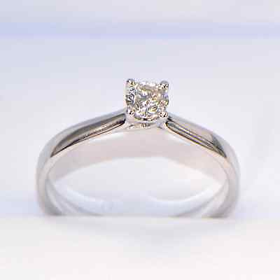 NEW Diamond Ring 0,19 Carat in White Gold (18 K) Solitaire 4 Prong Ring Size 54