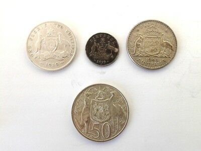 Australia 2 Shillings 1910, 1946 Plus 6 Pence 1919M and 50 Cent 1966 All Silver