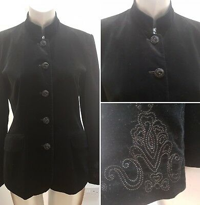 Black Velvet Blazer Jacket W/ Mandarin Collar And Embroidered Sleeves 8 10