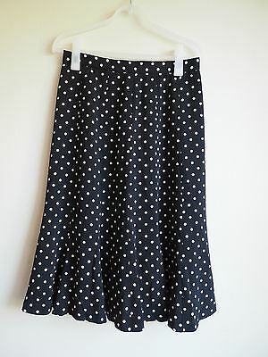 Vintage Ladies 1980S Black Polka Dot Skirt (Size M)