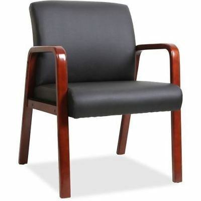 Lorell Black Leather Wood Frame Guest Chair 40202